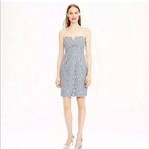J Crew Size 0 Cathleen Dress In Leavers Lace Gray